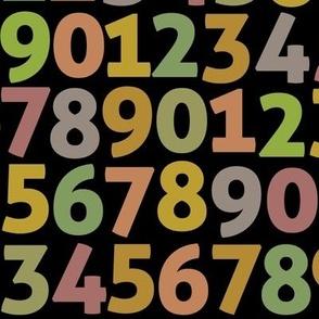 vintage digits on black