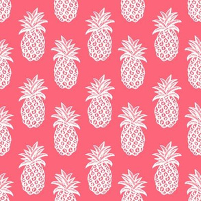 Pineapples on coral pink