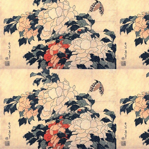 Peonies with Butterfly