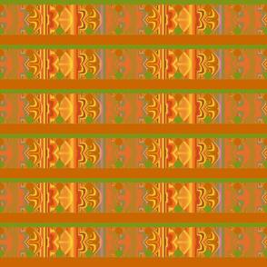 Orange and Green Patterned Stripe