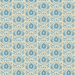 ikat flower - blue & taupe-ch