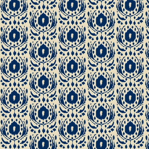 ikat flower - sand and navy