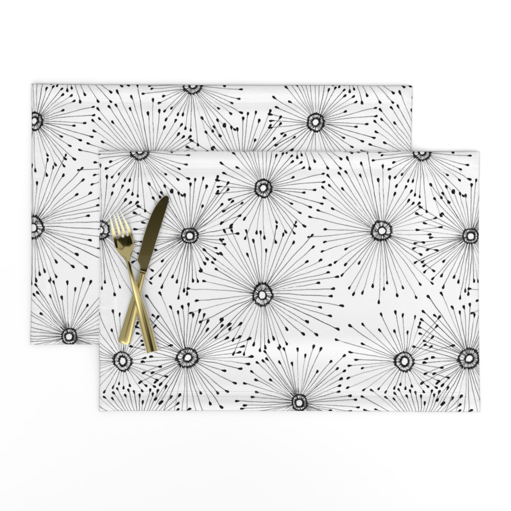 Lamona Cloth Placemats featuring Dandelion in Black & White by curious+fanciful