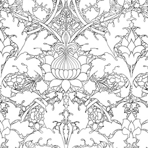 William Morris ~ St. JamesDamask ~ Black and White ~ COLOR YOUR OWN!