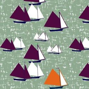 Racing gaff-rigged skiffs, purple + orange on sea-green by Su_G_©SuSchaefer