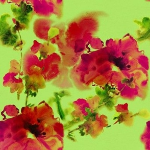 Magenta Flowers on Light Green