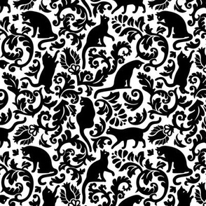 Cats In The Garden / Black On White Background / Small Scale