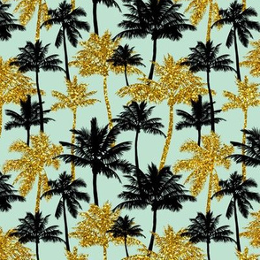 gold glitter palm trees - mint, mini