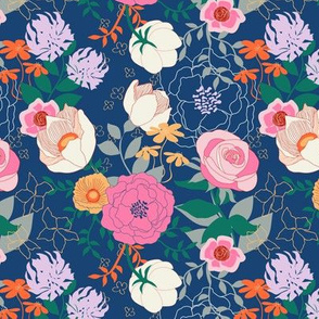 Floral on Navy by Angel Gerardo