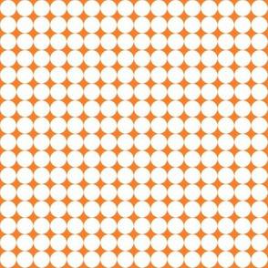 White fox spheres on orange