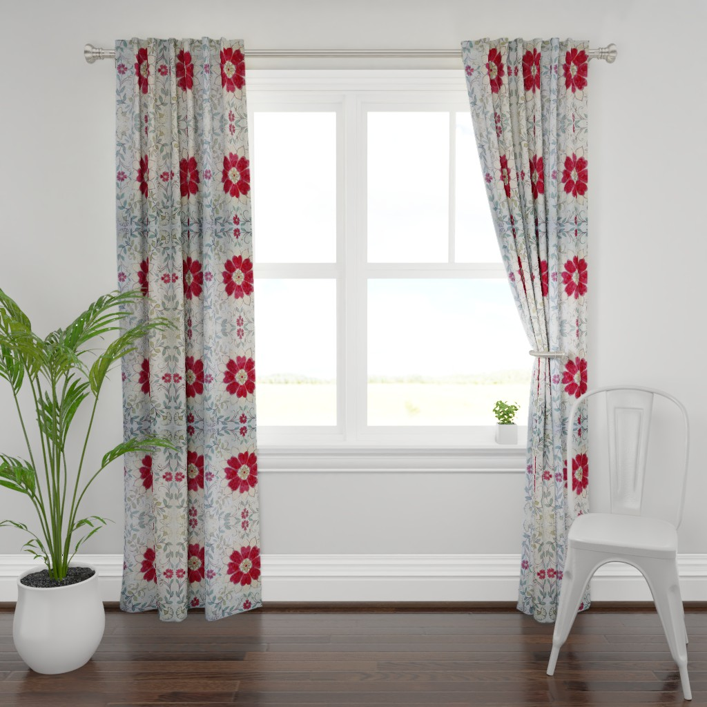 Plymouth Curtain Panel featuring Red CentreFloral by maria_pezzano