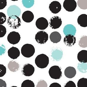 Geometric grunge raw brush stroke bubble dots