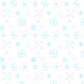 snowflakes small blue on white