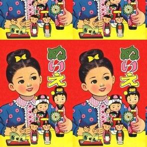 vintage kids traditional japanese oriental chinese girls children playing games wooden dolls cartoons comics anime manga
