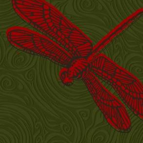 Dragonfly damselfly dragonfly - red & green