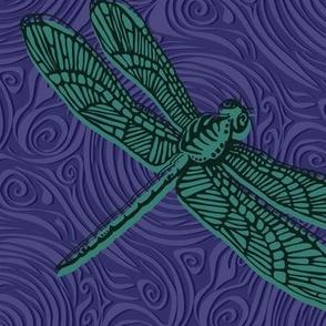 Dragonfly damselfly dragonfly - jade & purple