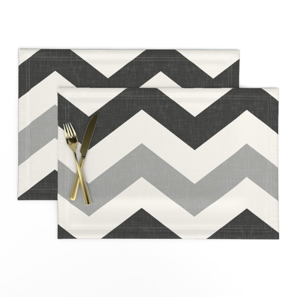 Lamona Cloth Placemats featuring Bold Chevron in Carbon and Black Linen by willowlanetextiles