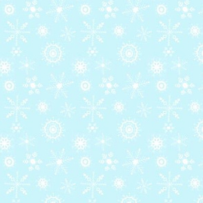 snowflakes small white on blue