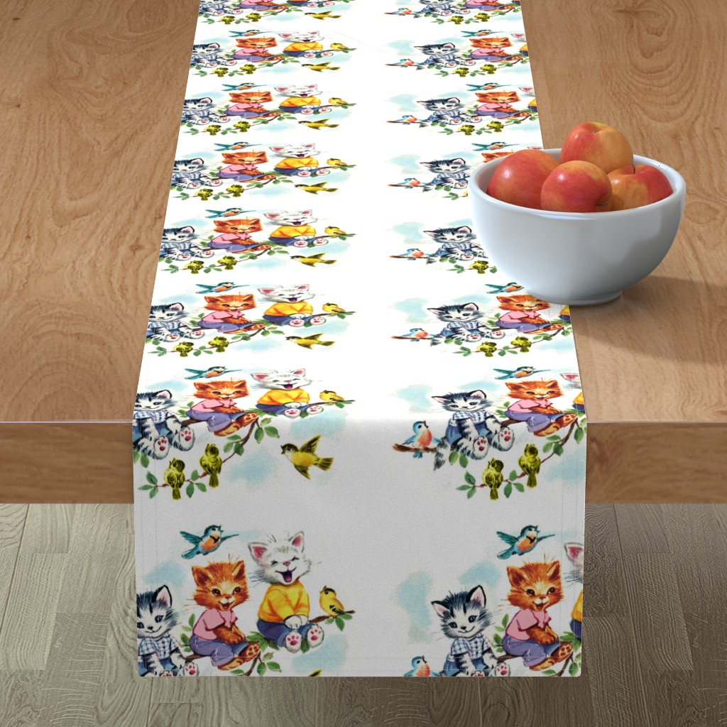 Minorca Table Runner featuring vintage retro kitsch cats kittens birds sky clouds children nursery children toddlers trees leaves kids fairy tales by raveneve