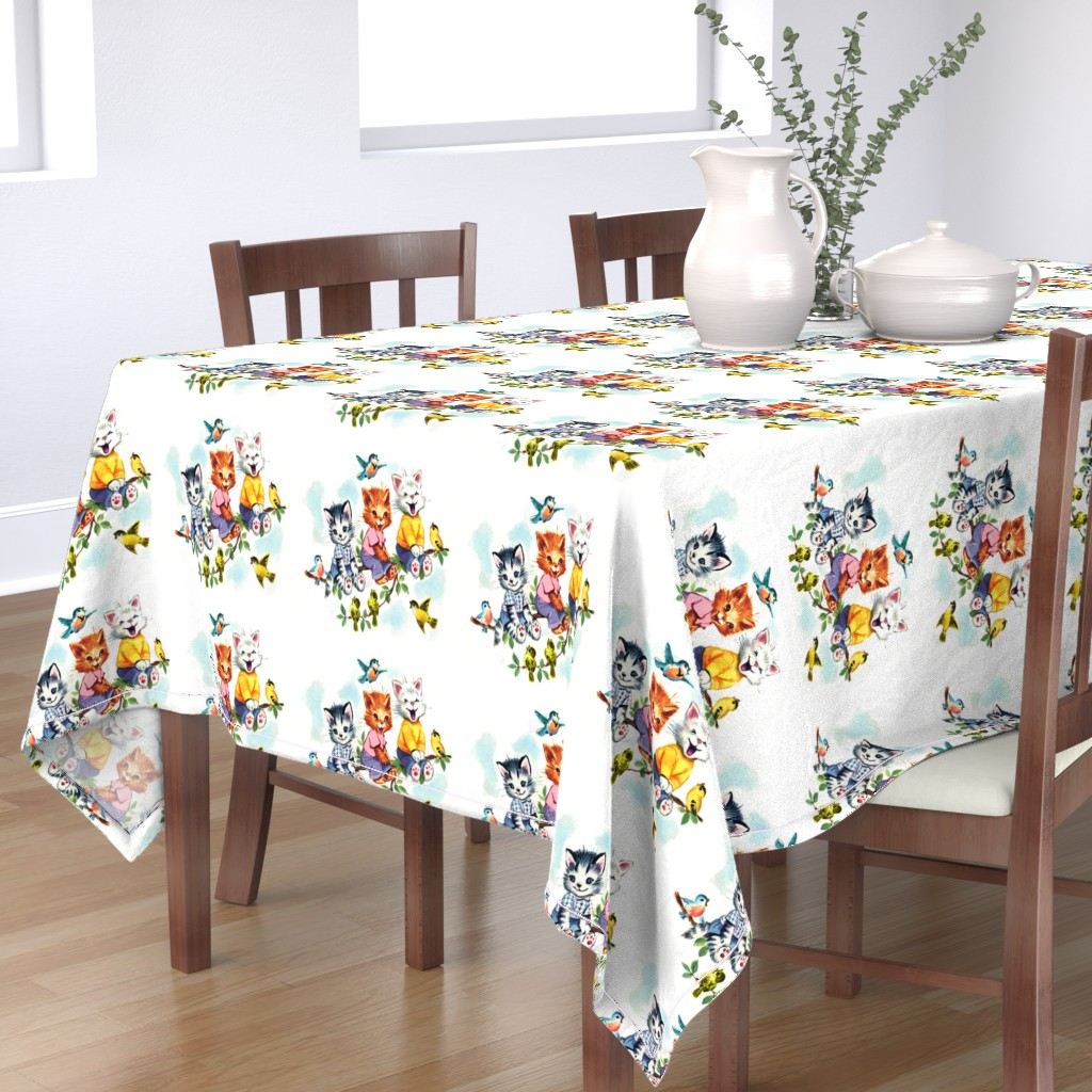 Bantam Rectangular Tablecloth featuring vintage retro kitsch cats kittens birds sky clouds children nursery children toddlers trees leaves kids fairy tales by raveneve
