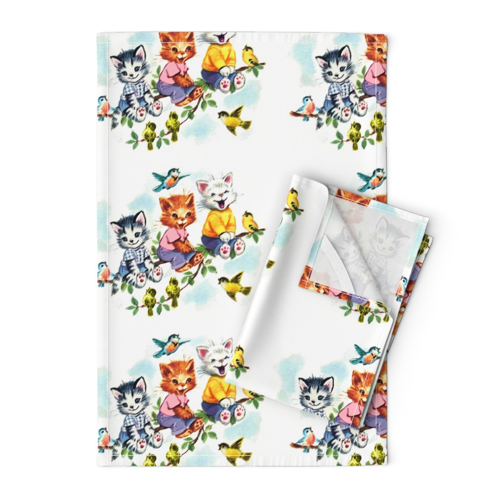 Orpington Tea Towels featuring vintage retro kitsch cats kittens birds sky clouds children nursery children toddlers trees leaves kids fairy tales by raveneve