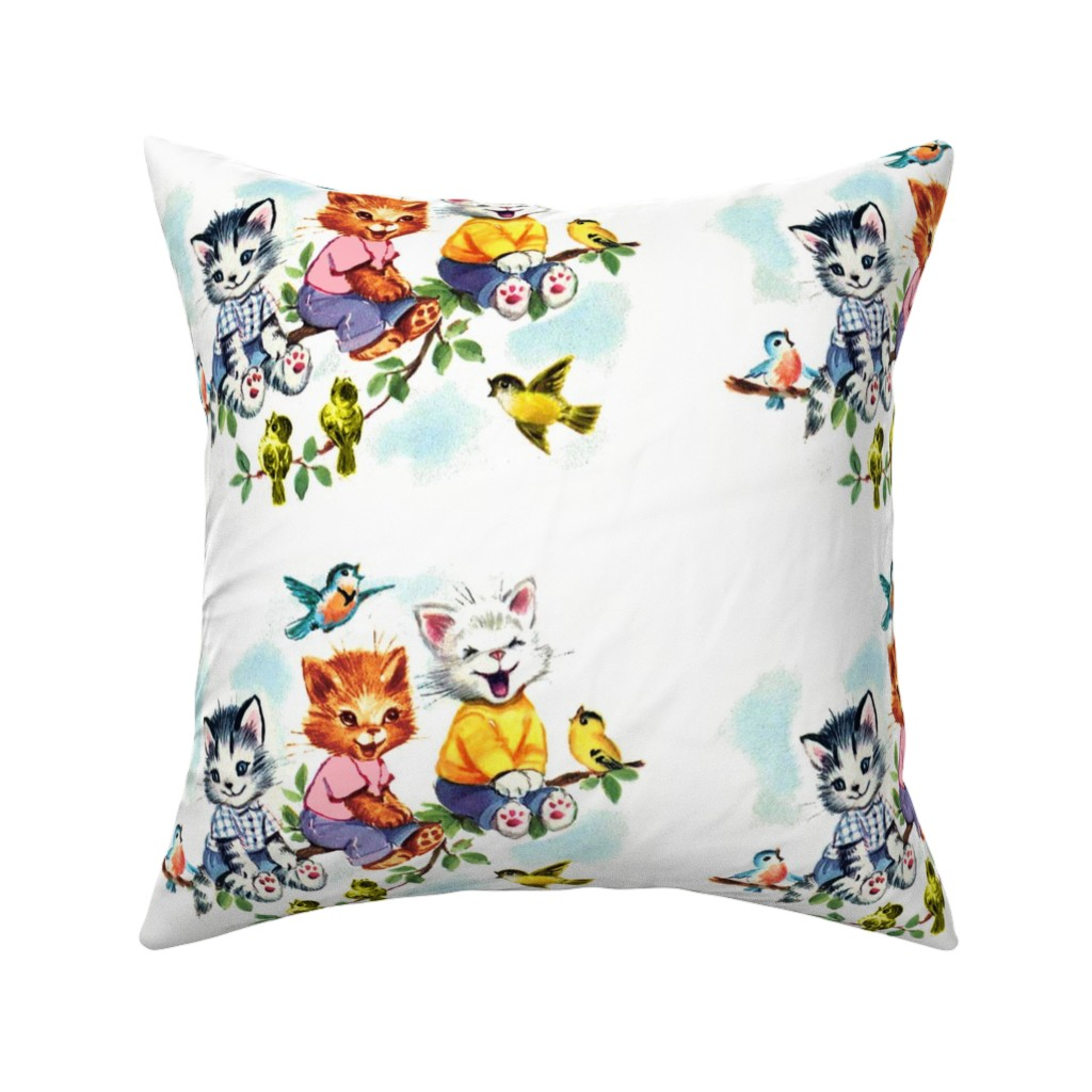 Catalan Throw Pillow featuring vintage retro kitsch cats kittens birds sky clouds children nursery children toddlers trees leaves kids fairy tales by raveneve