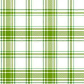 "hiker's plaid - 14"" leaf green, sky blue and white"