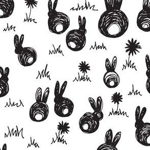 bunnies b+w