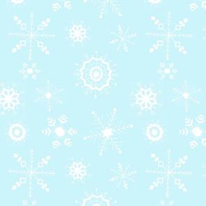 snowflakes large white on blue