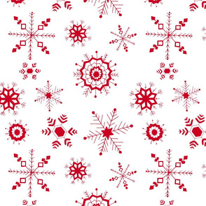 snowflakes large red on white