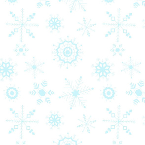 snowflakes large blue on white