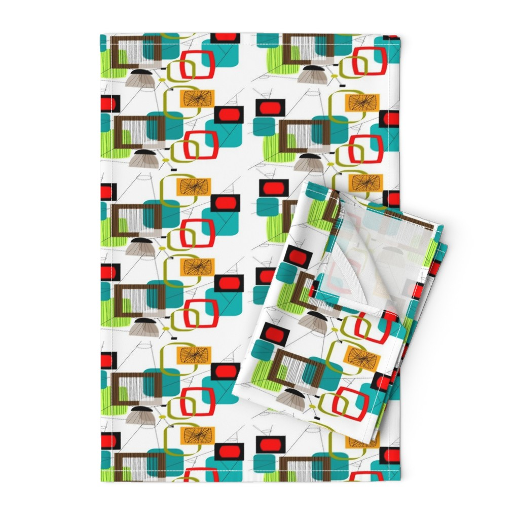 Orpington Tea Towels featuring Mid-Century Modern Abstract by hot4tees_bg@yahoo_com