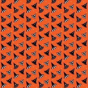 "Witch Hats & Stars - orange Small 2/3"""