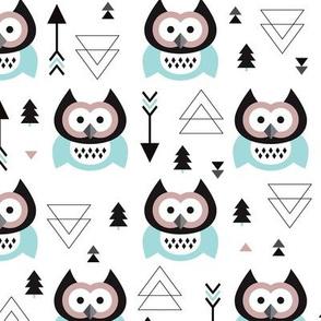 Geometric woodland arrow and owl winter pattern