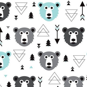 Geometric grizzly bear woodland illustration pattern blue