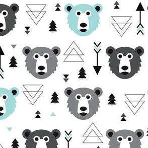 Geometric grizzly bear woodland illustration pattern blue