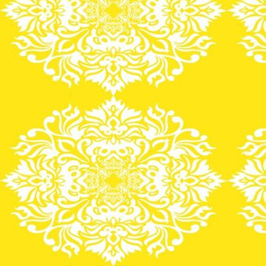 Damask White on Yellow
