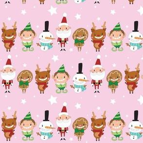 Christmas Crew - Pink - Line - Medium