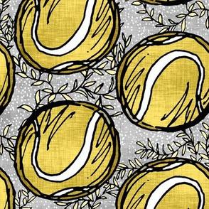 Yellow Tennis Balls on Linen