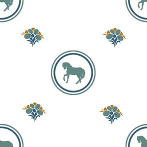 Blue Teal Horse Pattern with Flower