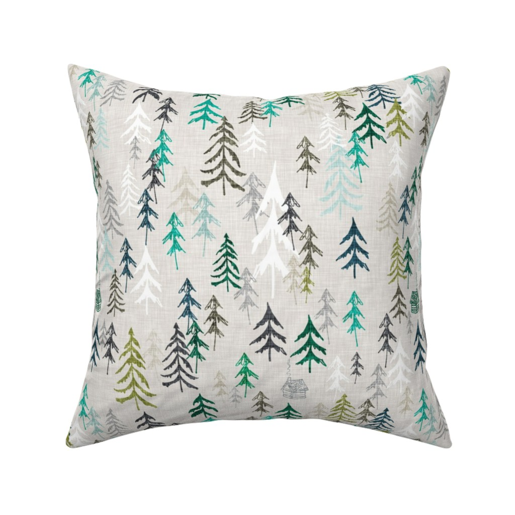 Catalan Throw Pillow featuring Solitude (green) by nouveau_bohemian