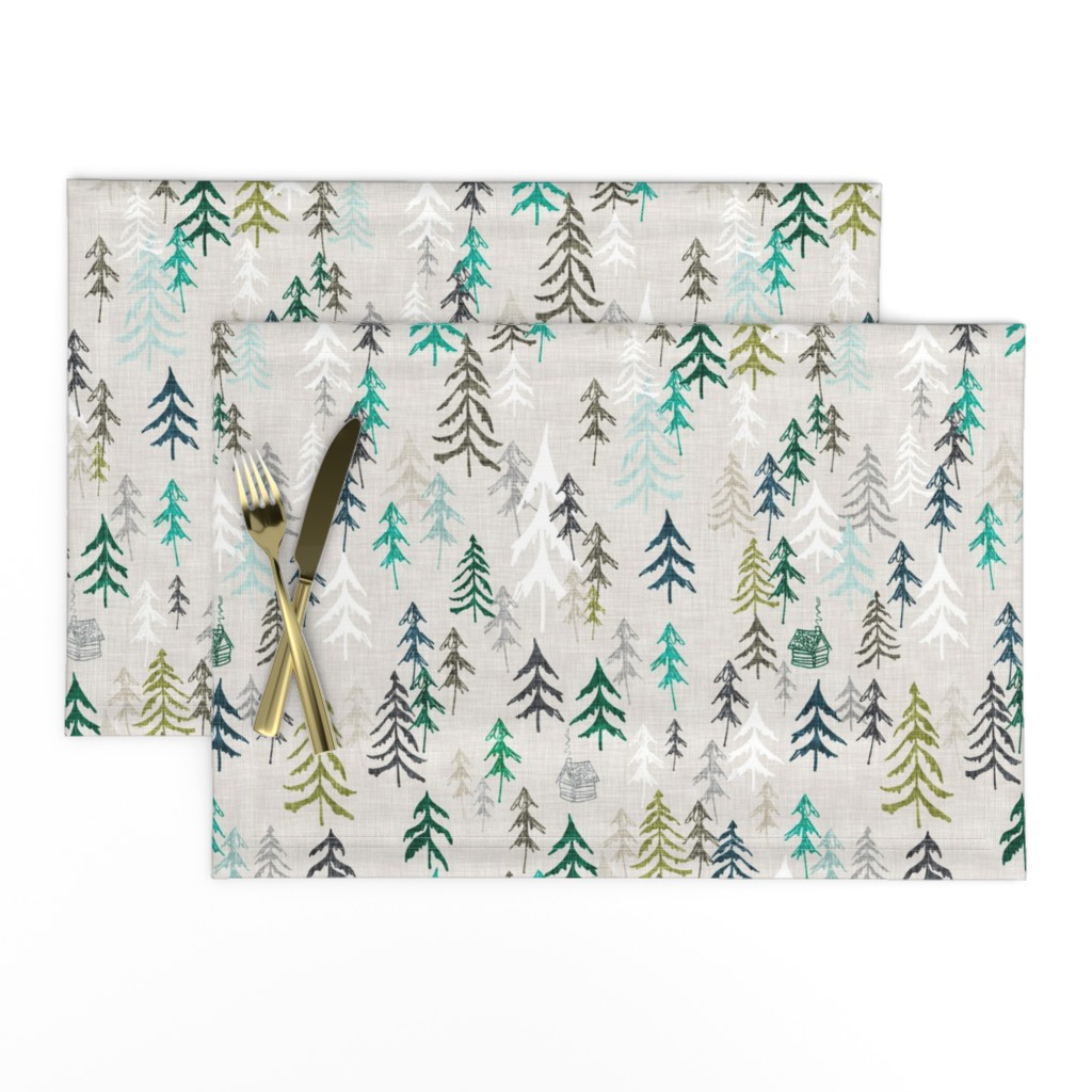 Lamona Cloth Placemats featuring Solitude (green) MED by nouveau_bohemian
