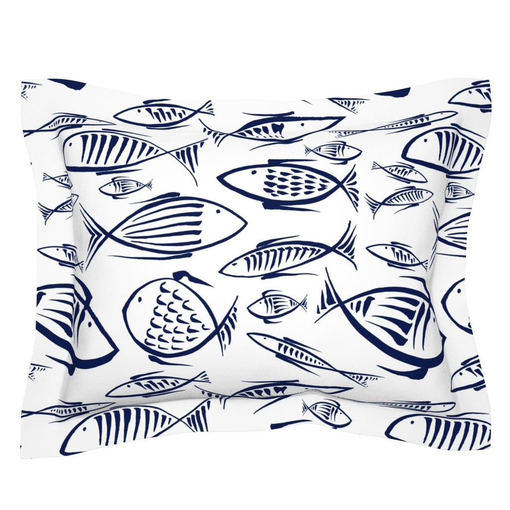Sebright Pillow Sham featuring  between the fishes by chicca_besso
