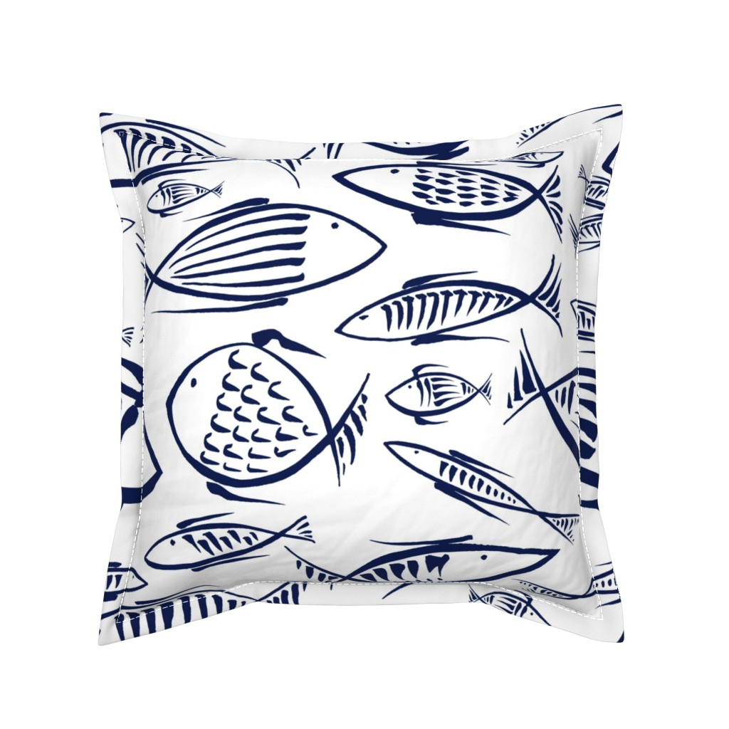 Serama Throw Pillow featuring  between the fishes by chicca_besso