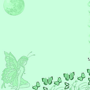 Butterfly Fairy Mint Green Panel