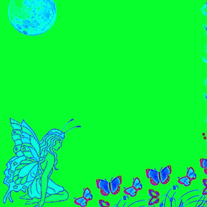 Butterfly Fairy Bright Green Panel-ed