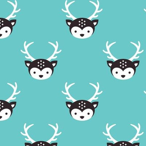 Cute little boy reindeer antlers deer illustration pattern AQUA