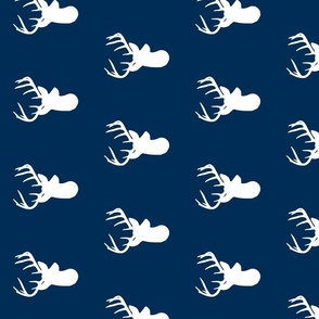 Rotated Navy with White Deer head - Navy deer head