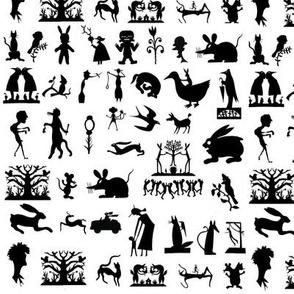 silhouettes wood life creatures