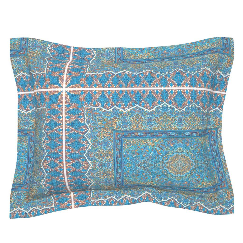 Sebright Pillow Sham featuring persian knot tea towel turquoise by keweenawchris